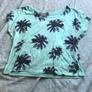 Mint Palm Tree Croptop/Flowy shirt